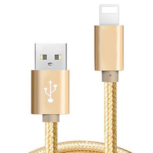 Apple Lightning Şarj ve Usb Data Kablo Örgü 100cm Gold