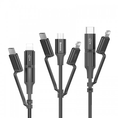 Baseus Excellent 3in1 Kablo USB To Micro/Lightning/Type-C 2A 1.2M Siyah CA3IN1