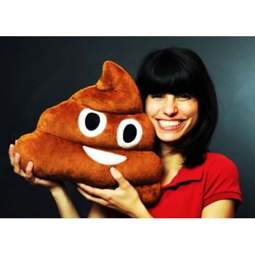 Esprili Kahverengi Gülen Poo Emoji Yastık