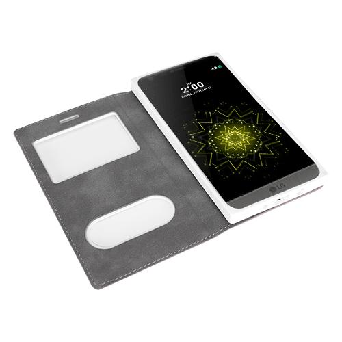 FitCase Dolce LG G5 H850 Gizli Mıknatıslı Pencereli Kılıf Beyaz