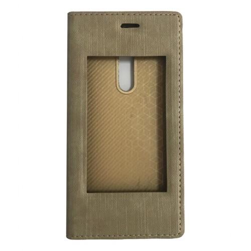 FitCase Dolce Nokia 5 Gizli Mıknatıslı Pencereli Kılıf Gold