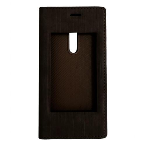 FitCase Dolce Nokia 5 Gizli Mıknatıslı Pencereli Kılıf Kahverengi