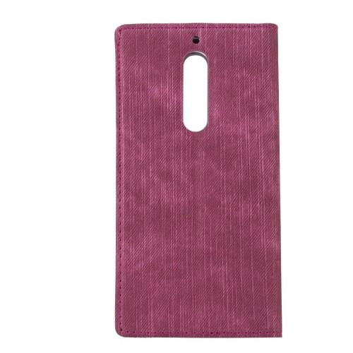 FitCase Dolce Nokia 5 Gizli Mıknatıslı Pencereli Kılıf Kırmızı