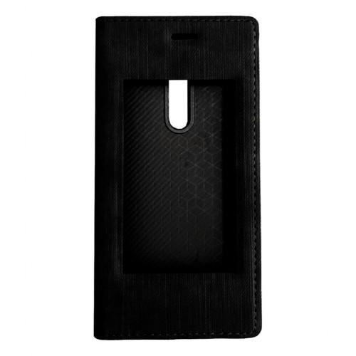 FitCase Dolce Nokia 5 Gizli Mıknatıslı Pencereli Kılıf Siyah