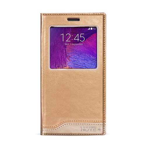 FitCase Dolce Note 4 (N910) Gizli Mıknatıslı Pencereli Kılıf Gold
