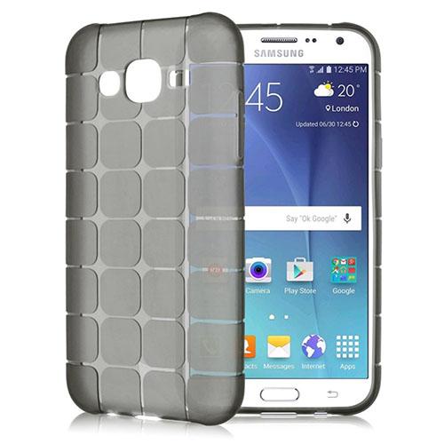 FitCase Samsung Galaxy J2 (J200) Plaid Silikon Arka Kapak Siyah