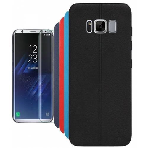 Galaxy S8 Plus G955 İnce Dikişli deri Görünümlü Arka Kapak Kılıf