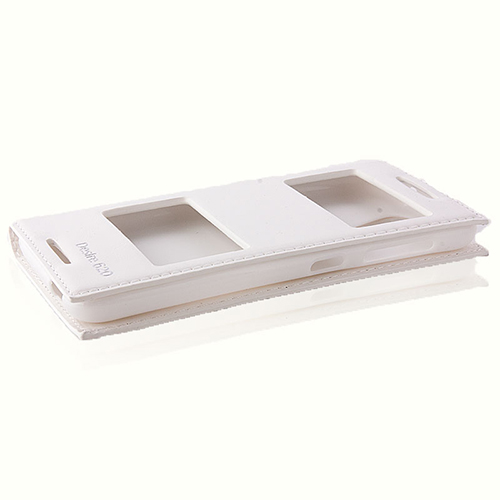 HTC Desire 620 Gizli Mıknatıslı Pencereli Premium Magnum Kılıf Beyaz