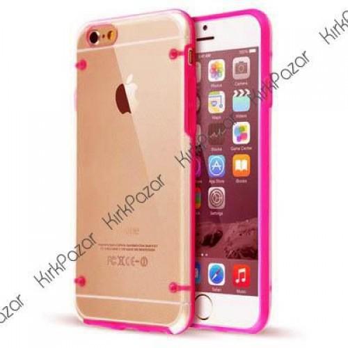 iPhone 6s Hibrit Transparan Kılıf Kırmızı