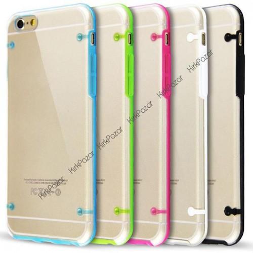 iPhone 7 Hibrit Transparan Kılıf Kırmızı