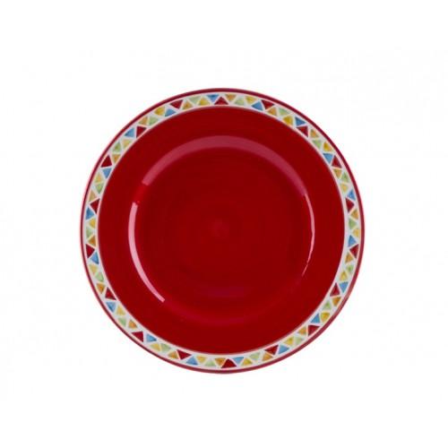 Porio Ahd-563430 - Yuvarlak Kırmızı Çukur Tabak 35Cm