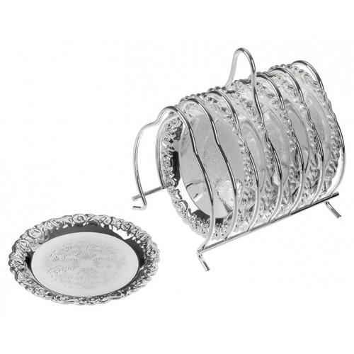 Porio PR04-1001 Gümüş 6Lı Bardak Altlığı Seti 9.5Cm