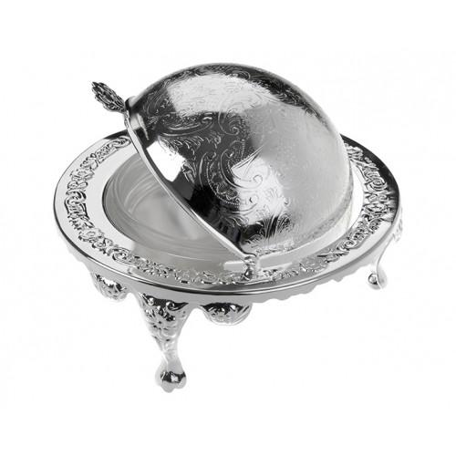 Porio PR04-1009 Gümüş-Cam Tereyağlık 14*12