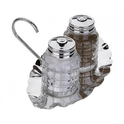 Porio PR04-1061 - Gümüş Alt Tabaklı 2li Baharat Seti 18*13