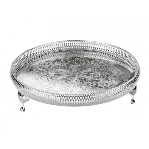 Porio PR04-1065 - Gümüş Yan Delikli Ayaklı Yuvarlak Tepsi 28cm