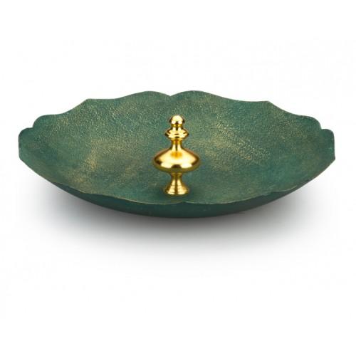 Porio PR10-1008 - Altın Saplı  Yeşil Dekoratif Tabak 43cm