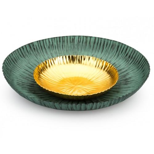 Porio PR10-1010 - İçi Altın Yeşil Duvar Tabağı 53cm