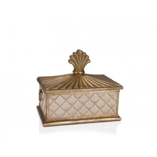 Porio PR12-1025 - Altın Krem Kapaklı Kutu 27*17*23