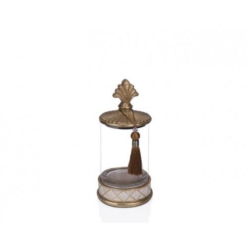Porio PR12-1026 - Altın Krem Cam Dekoratif Kavanoz 15*15*31