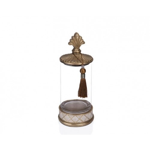 Porio PR12-1027 - Altın Krem Cam Dekoratif Kavanoz 15*15*35
