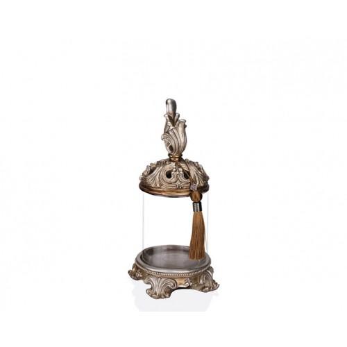Porio PR12-1032 - Krem Eskitme Cam Dekoratif Kavanoz 15*15*35