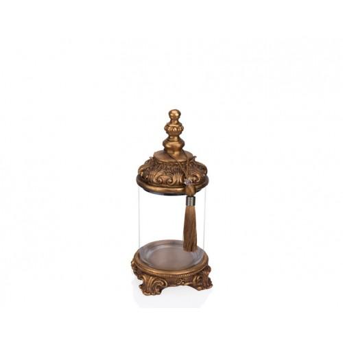 Porio PR12-1035 - Altın İşlemeli Cam Dekoratif Kavanoz 15*15*33