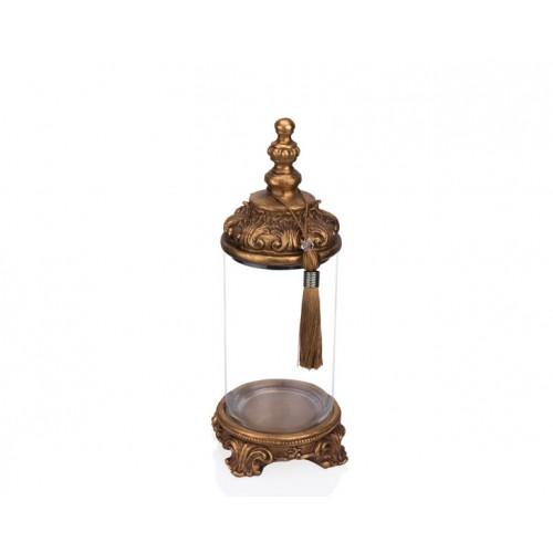 Porio PR12-1036 - Altın İşlemeli Cam Dekoratif Kavanoz 15*15*38