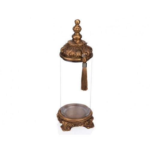 Porio PR12-1037 - Altın İşlemeli Cam Dekoratif Kavanoz 15*15*42