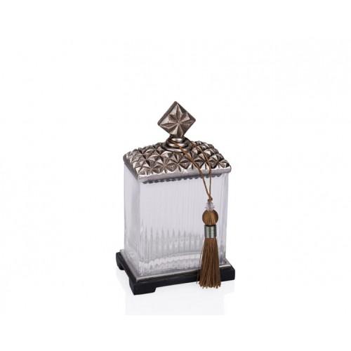 Porio PR12-1038 - Gümüş Zımbalı Cam Kare Dekoratif Kavanoz 14*10*23