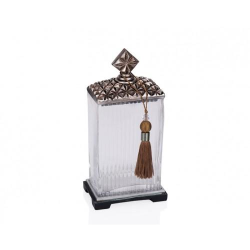 Porio PR12-1039 - Gümüş Zımbalı Cam Kare Dekoratif Kavanoz 14*10*28