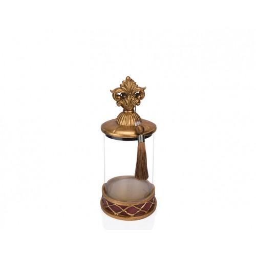 Porio PR12-1040 - Altın Bordo Cam Dekoratif Kavanoz 15*15*31