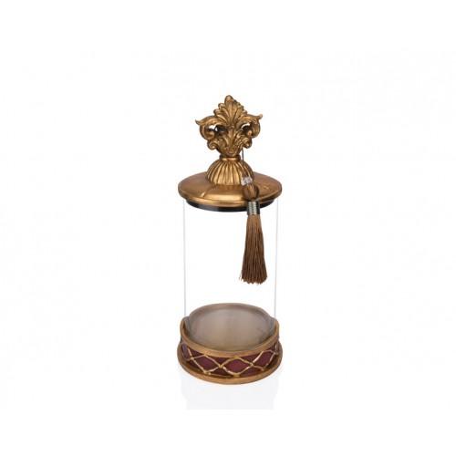 Porio PR12-1041 - Altın Bordo Cam Dekoratif Kavanoz 15*15*36