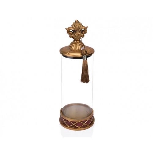 Porio PR12-1042 - Altın Bordo Cam Dekoratif Kavanoz 15*15*42