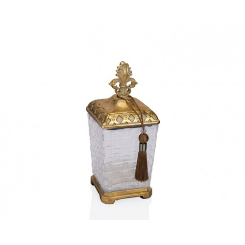 Porio PR12-1043 - Altın Eskitme Cam Kare Dekoratif Kavanoz 13*13*31