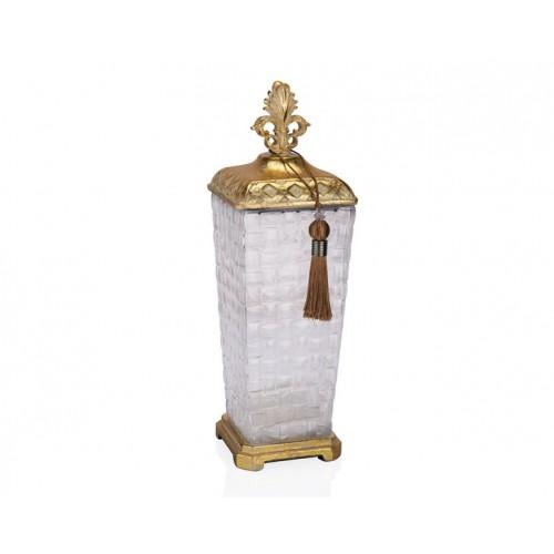 Porio PR12-1044 - Altın Eskitme Cam Kare Dekoratif Kavanoz 13*13*40