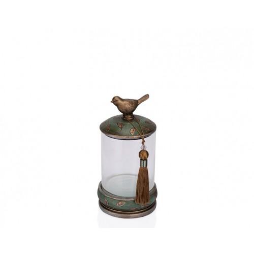 Porio PR12-1047 - Kuşlu Yeşil Cam Dekoratif Kavanoz 15*15*27