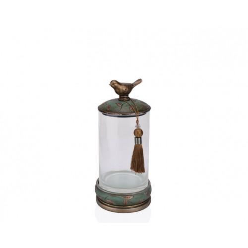 Porio PR12-1048 - Kuşlu Yeşil Cam Dekoratif Kavanoz 15*15*32