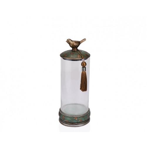 Porio PR12-1049 - Kuşlu Yeşil Cam Dekoratif Kavanoz 15*15*37