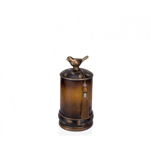 Porio PR12-1050 - Kuşlu Siyah Cam Dekoratif Kavanoz 15*15*27