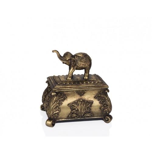 Porio PR12-1061 - Altın Fil Kapaklı Kutu 22*15*23