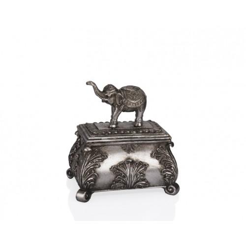 Porio PR12-1062 - Gümüş Fil Kapaklı Kutu 22*15*23