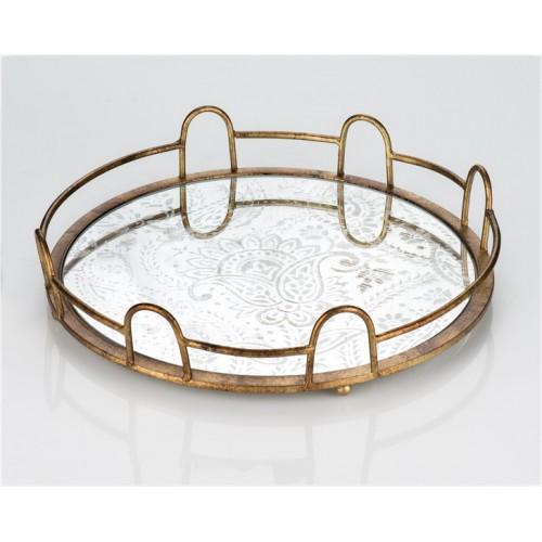 Porio PR13-1013 Eskitme Desen Aynalı Metal Yuvarlak Tepsi 38*38