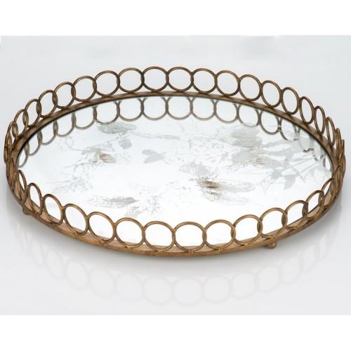 Porio PR13-1017 Eskitme Desen Aynalı Metal Yuvarlak Tepsi 46*46