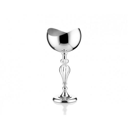 Porio PR14-1014 - Gümüş Taç Ayaklı Yassı Başlı Vazo 30*30*56