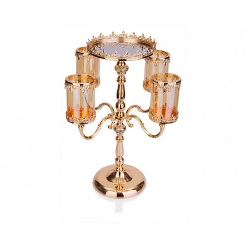 Porio PR14-1064 - Altın İşlemeli Ambr Cam 4lü Mumluk-Sunum 30*30*106