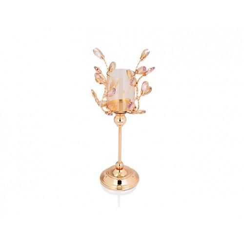 Porio PR14-1066 - Altın Kristal Şekilli Amber Camlı Mumluk 16*16*39