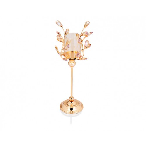 Porio PR14-1067 - Altın Kristal Şekilli Amber Camlı Mumluk 16*16*45