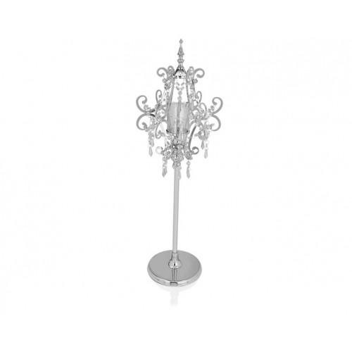 Porio PR14-1092 - Gümüş Kafes Şekilli Kristalli Mumluk 29*29*113