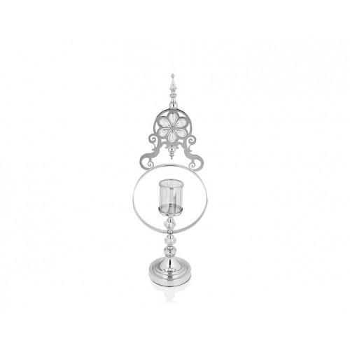 Porio PR14-1095 - Gümüş Çiçek Detaylı Amber Camlı Mumluk 15*25*70