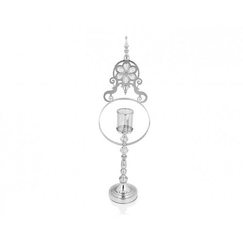 Porio PR14-1096 - Gümüş Çiçek Detaylı Amber Camlı Mumluk 15*25*82